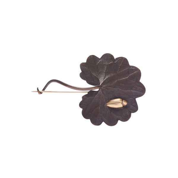 Gabriella Kiss Bronze Scallop Leaf Pin with 18k Beetle