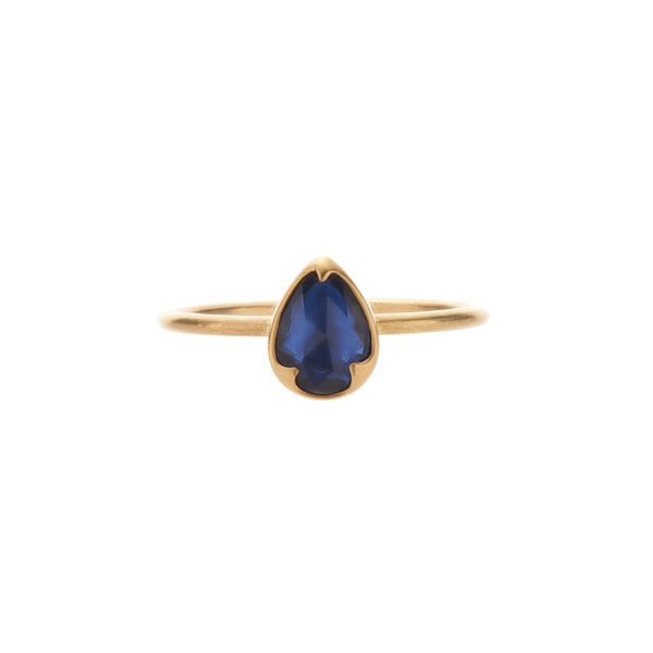 Gabriella Kiss 18k Pear Blue Rose Cut Sapphire Ring