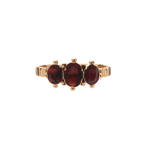Antique Late Georgian Three Garnet Stone Ring