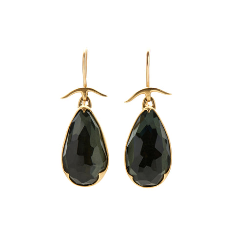 Gabriella Kiss 18k Lemon Quartz Over Hematite Pear Drop Earrings