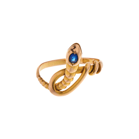 Antique Victorian 18k Sapphire Coiled Snake Ring