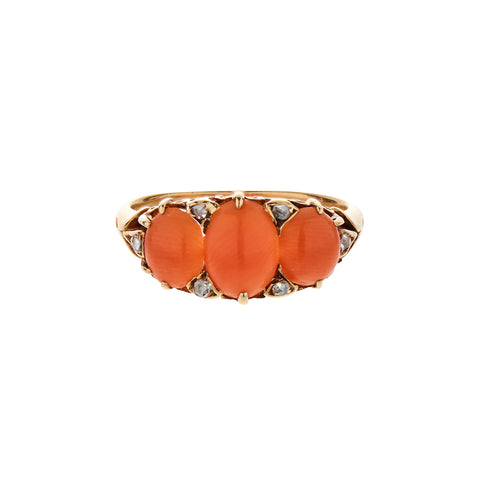 Antique Victorian 15k Three Stone Coral with Diamond Ring