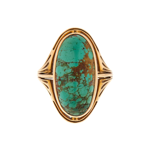 Antique Arts & Crafts 14k Turquoise Cabochon Ring