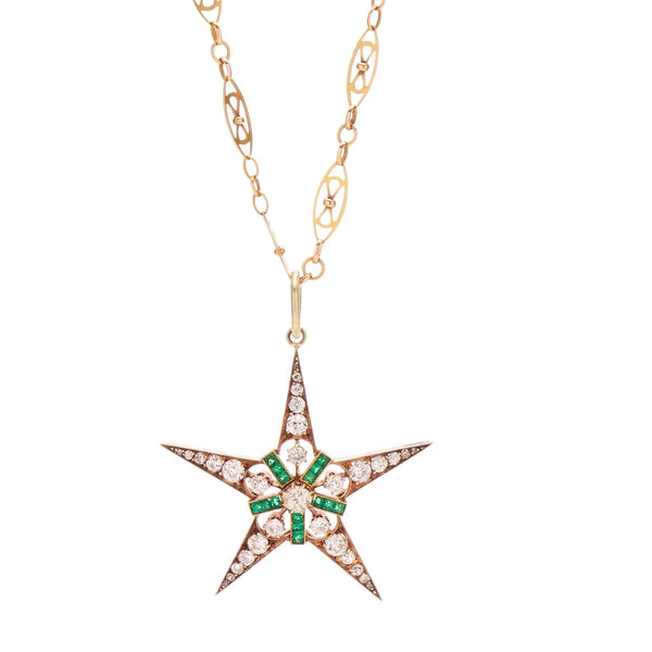 Antique Victorian 14k Diamond & Emerald Star Pendant