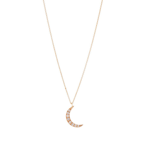 Gillian Conroy 14k YG Diamond Moon Necklace