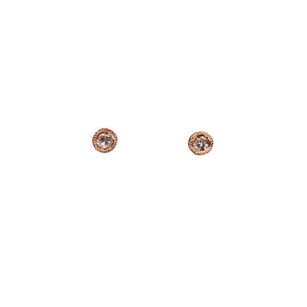 Louison Fine 14k Yellow Gold Small Milgrain Set White Diamond Stud Earrings