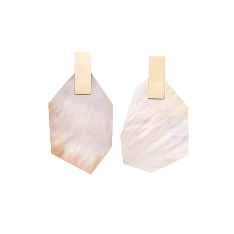 Kathleen Whitaker Large White Mother of Pearl with Plane Stud Earrings