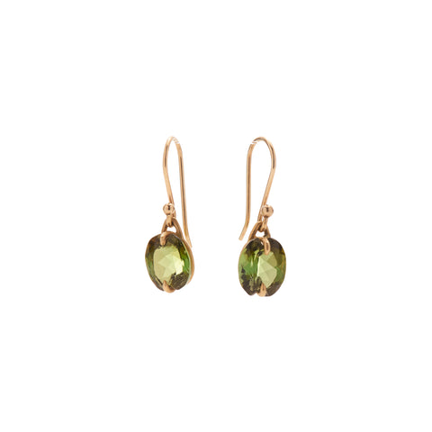 Gabriella Kiss 18k Tiny Faceted Oval Green Tourmaline Earrings