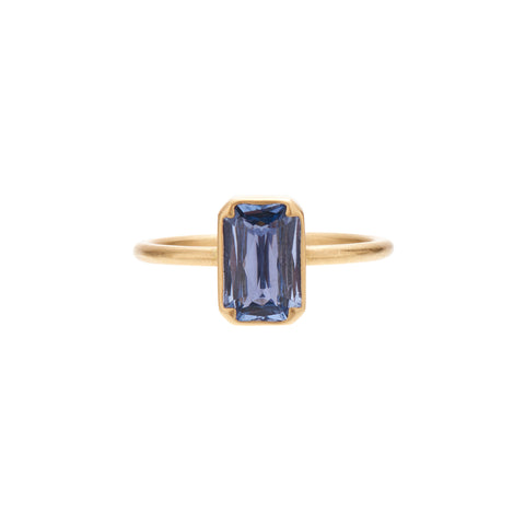 Gabriella Kiss 18k Pale Blue Rectangular Sapphire Ring - 2.ct