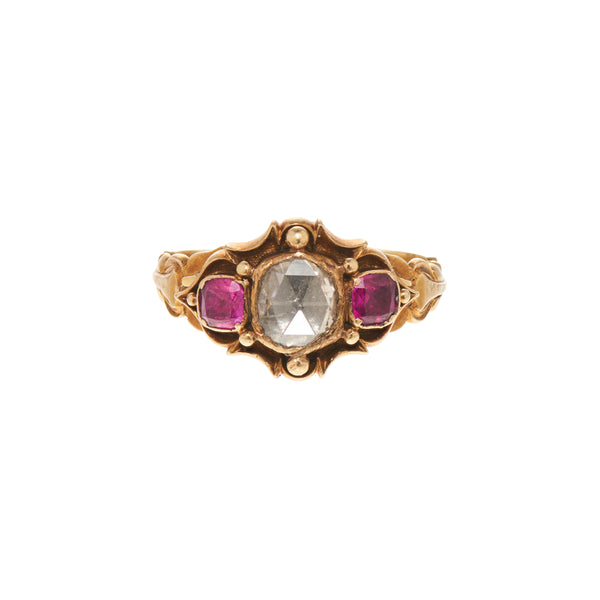 Antique Georgian 15k Rosecut Diamond and Natural Ruby Ring