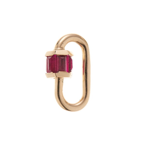 Marla Aaron 14k Yellow Gold Total Baguette Baby Lock with Ruby