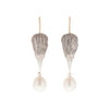 Gabriella Kiss Silver Bird Head with White Pearl Earrings