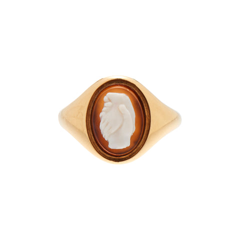 Antique Victorian Gold Cameo Hardstone Fede Ring