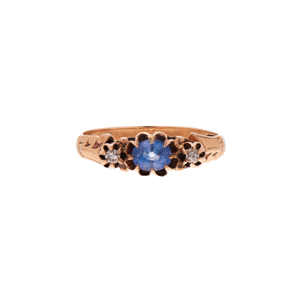 Antique Victorian 12k Rose Gold Cornflower Sapphire & Diamond Ring