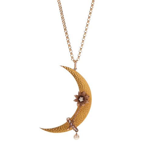 Antique Victorian 14k Moon with Diamond & Pearl Pendant