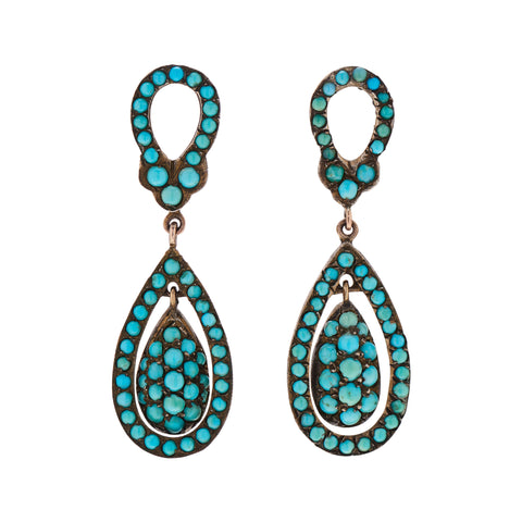 Antique Victorian Double Drop Turquoise Pave Earrings