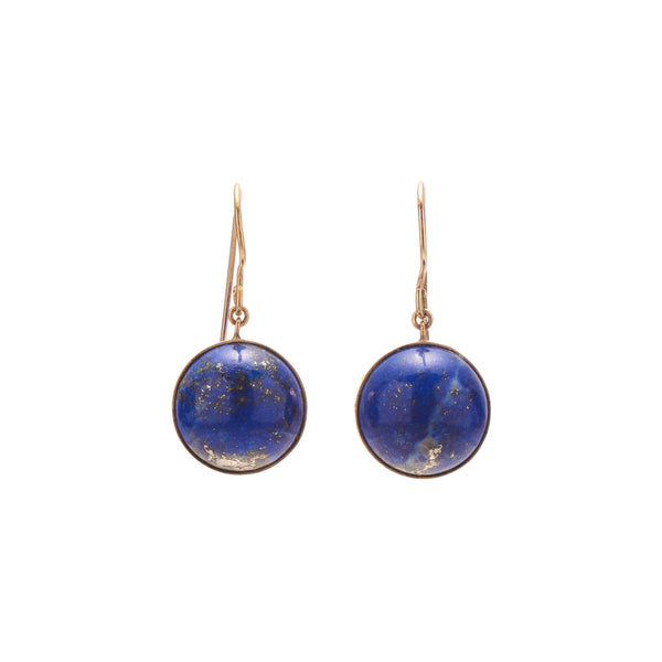 Antique Victorian 14k Lapis Sphere Drop Earrings