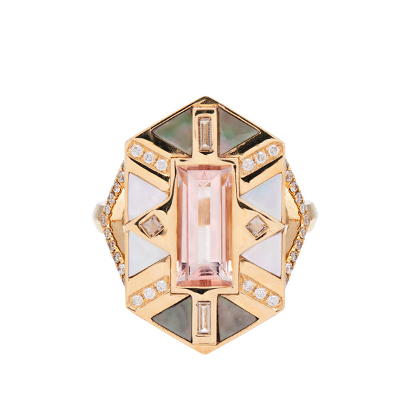Harwell Godfrey 18k Juju Morganite Cocktail Ring with Inlay and Pave Diamonds