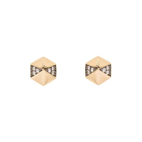 Harwell Godfrey 18k Pave Diamond Hexagon Earrings