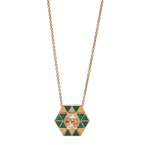 Harwell Godfrey 18k Quartz, Malachite & Diamond  Elements Necklace