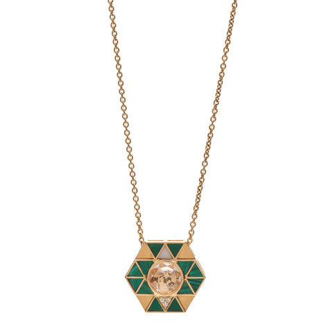 Harwell Godfrey 18k Clear Quartz Center Stone, Malachite Inlay & Diamond Elements Necklace -  18""