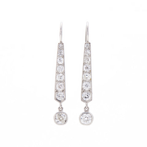 Antique Platinum & Diamond Drop Earrings