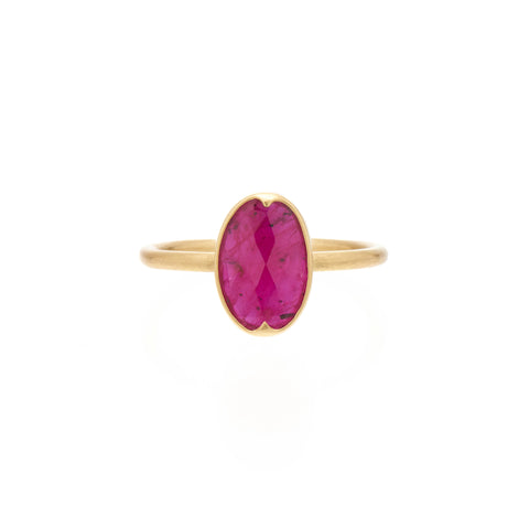 Gabriella Kiss 18k Oval Rose Cut Ruby Ring