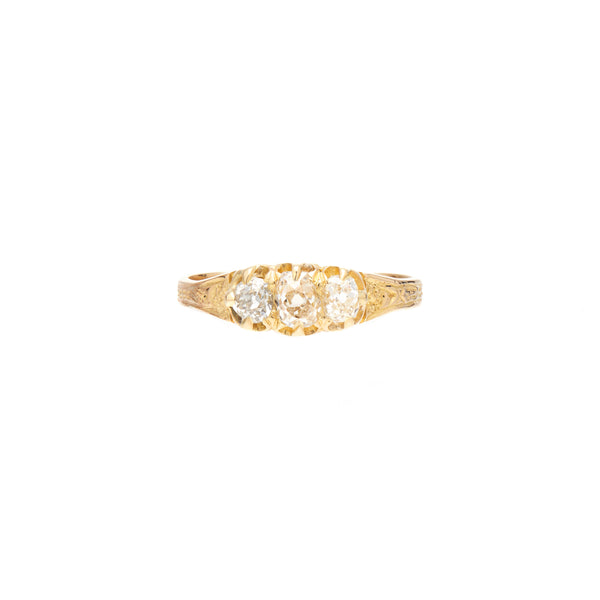 Antique Victorian 18k Three Diamond Ring