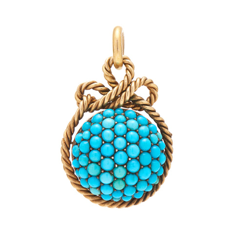 Antique Victorian 15k Pave Turquoise and Rope Motif Locket