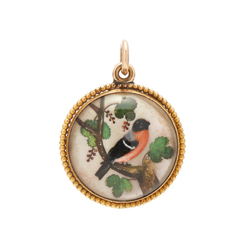 Antique Victorian Essex Crystal Oriole Bird Pendant