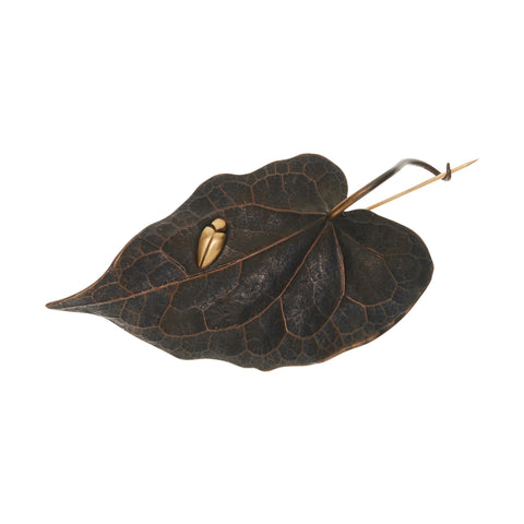 Gabriella Kiss Bronze Leaf Pin with 18k Beetle