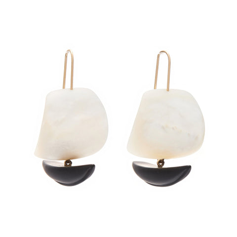 Gabriella Kiss 14k Mother of Pearl & Black Jade Ghost Ship Earrings