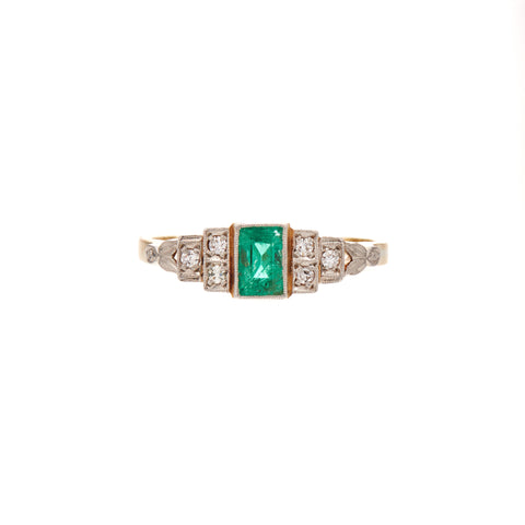 Antique Art Deco Platinum & 18k Emerald & Diamond Ring