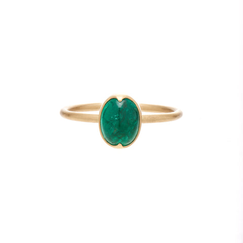 Gabriella Kiss 18k Oval Cabochon Emerald Ring
