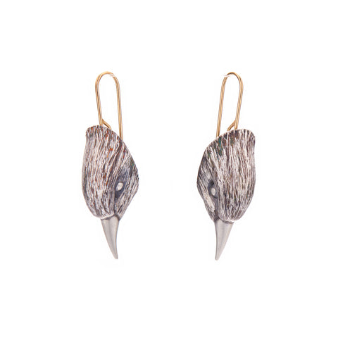 Gabriella Kiss Oxidized Silver Bird Head Earrings
