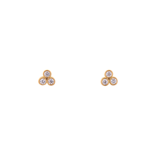 Marian Maurer 18k Triple Diamond Stud Earrings