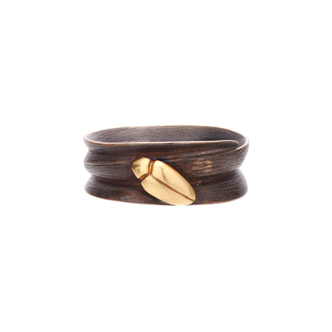 Gabriella Kiss Bronze Blade of Grass Ring with 18k Beetle