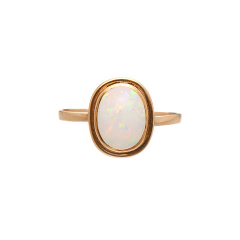 Antique Victorian 14k Oval Opal Ring