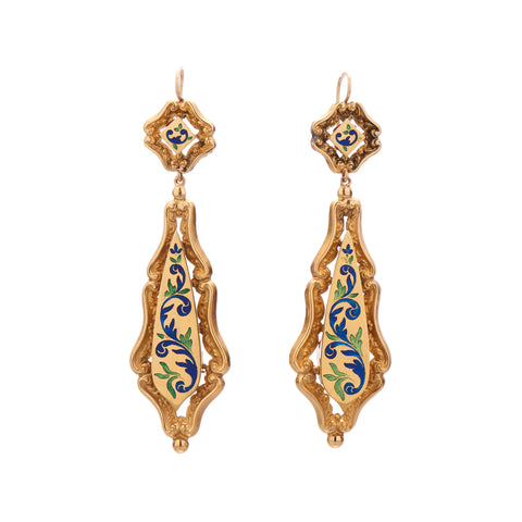 Antique Victorian 18k and Swiss Enamel Garland Earrings