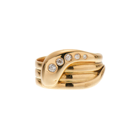 Antique 18k Diamond Snake Band Ring