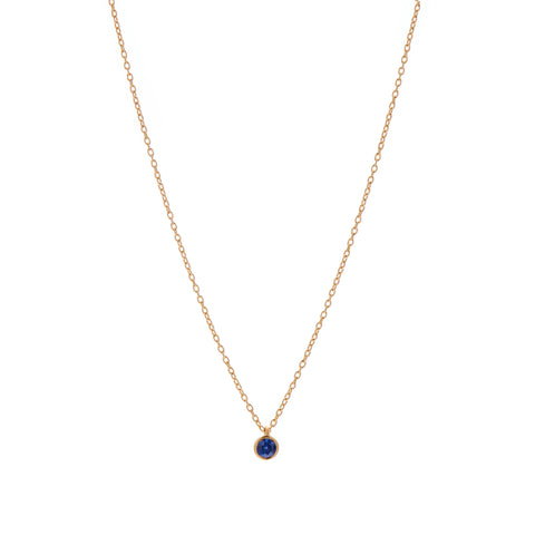Marian Maurer 18k Single 3mm Sapphire Necklace 16""