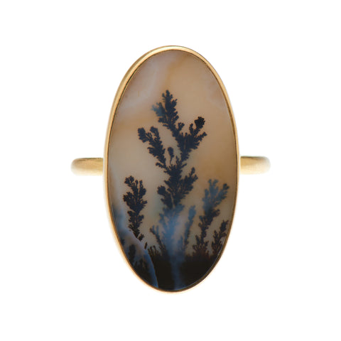 Gabriella Kiss 18k Vertical Oval Dendritic Agate Ring