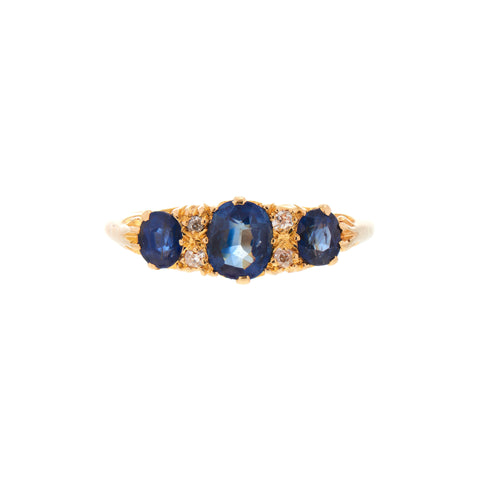 Antique Edwardian 18k Three Sapphire & Diamond Half Hoop Ring