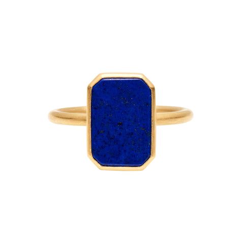 Gabriella Kiss 18k Small Rectangular Lapis Ring