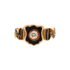 Antique Victorian 18k Mourning Ring with Shield & Diamond