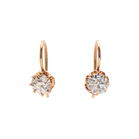 Antique 14k European Cut Diamond Earrings - 1 1/3 ct total