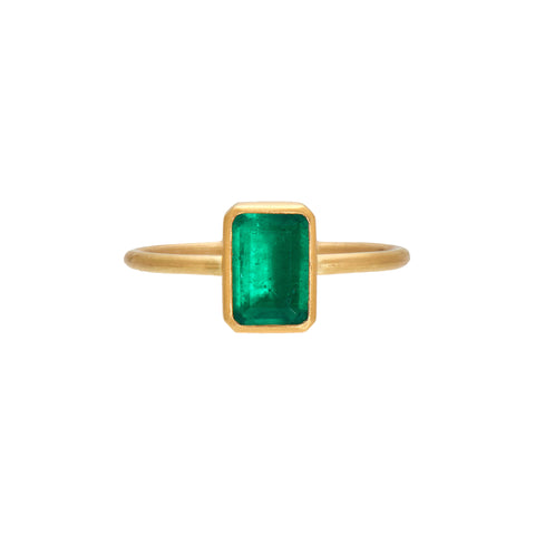 Gabriella Kiss 18k Zambian Cushion Cut Emerald Ring - 1.07ct