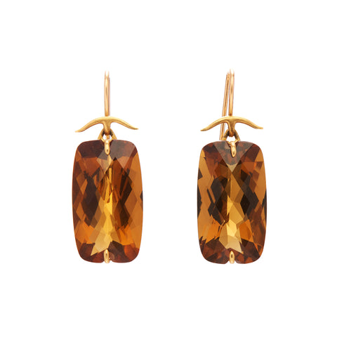 Gabriella Kiss 14/18k Faceted Cushion Cut Whisky Quartz Earrings