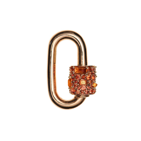 Marla Aaron 14k Orange Sapphire Stoned Chubby Medium Lock