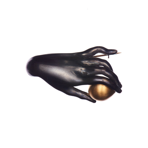 "Gabriella Kiss Sterling Bronze ""Canova"" Hand with Vermeil Plum Pin"